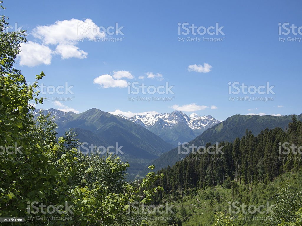 Landscape of mountains with snow stock photo