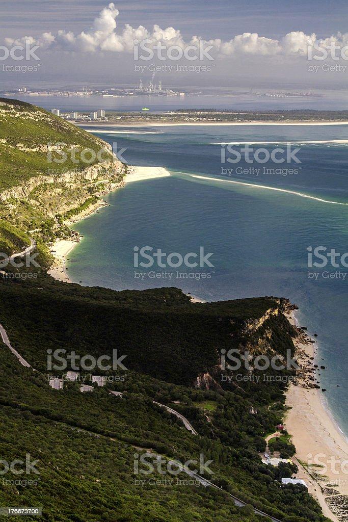 Paisaje del parque nacional de arrábida en Portugal foto de stock libre de derechos
