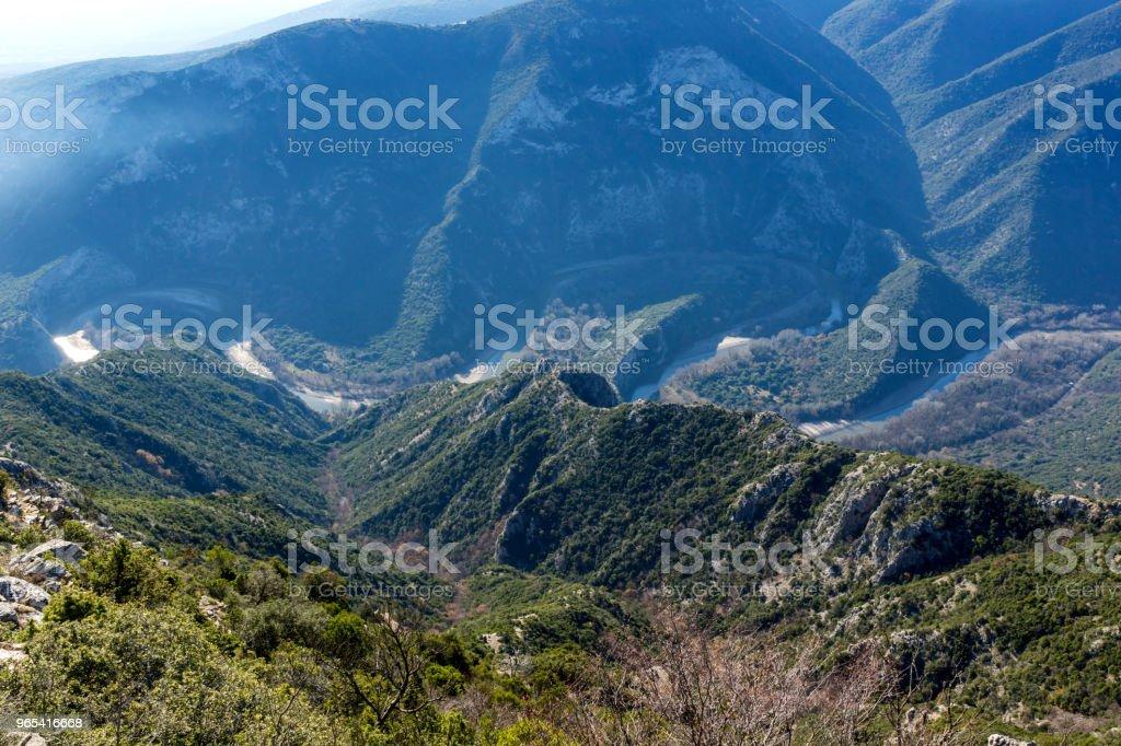 Landschaft des Nestos-Schlucht in der Nähe von Stadt Xanthi, Griechenland - Lizenzfrei Balkan Stock-Foto