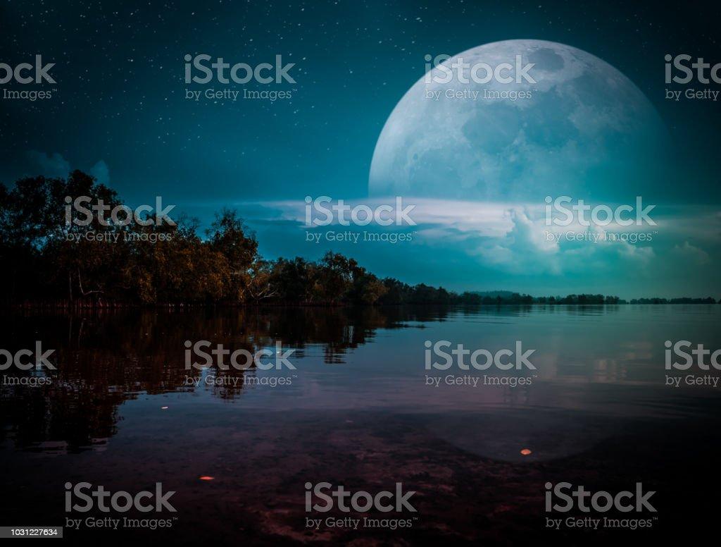 Landscape of night sky with many stars. Serenity background. stock photo