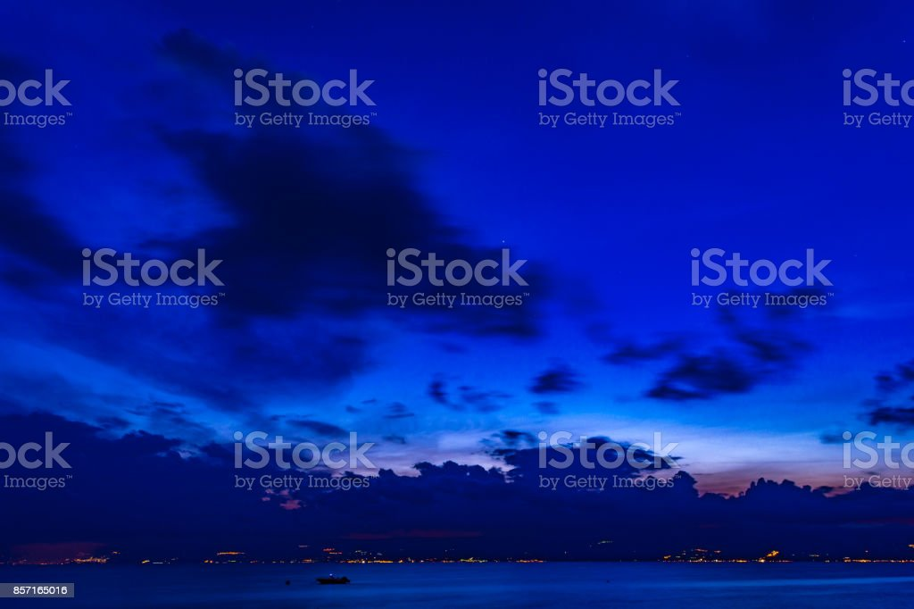 Landscape of night with clouds and stellar sky stock photo