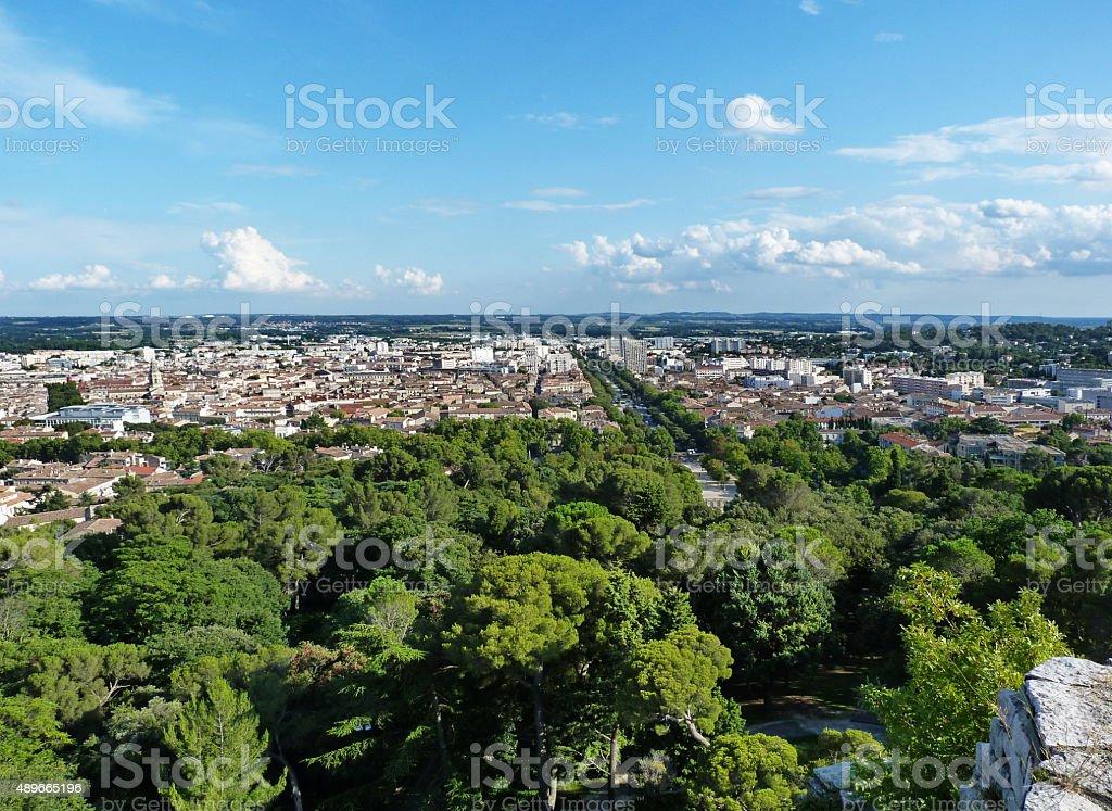 Landscape of Nimes, France stock photo