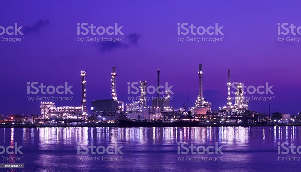 Landscape of oil refinery factory stock photo