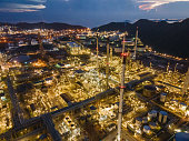 Landscape of Oil Refinery Plant and Manufacturing Petrochemical Process Building, Industry of Power Energy and Chemical Petroleum Product Factory. Natural Oil/Gas Commodity Industrial aerial view drone pov shot