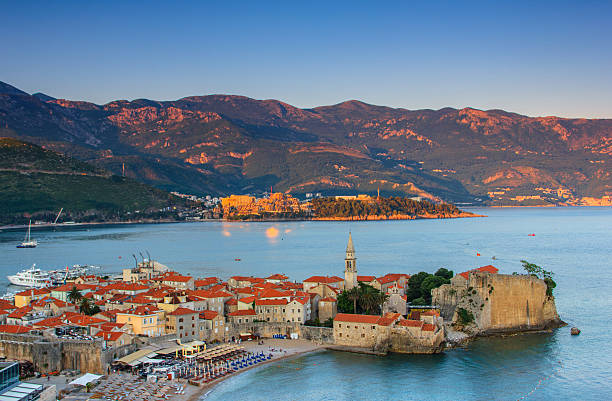 Landscape of old town Budva at sunset. Montenegro. – Foto