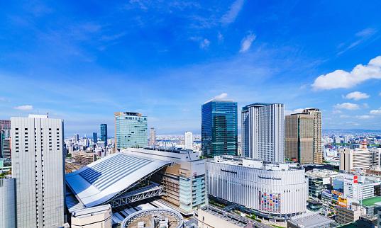 istock Landscape of Osaka city bird view in Japan 1197066621