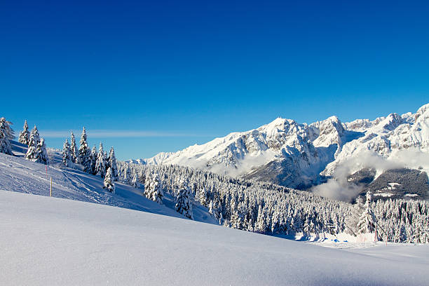 landscape of Paganella, Trento, Italy winter landscape, Paganella, Trento, Italy trentino alto adige stock pictures, royalty-free photos & images