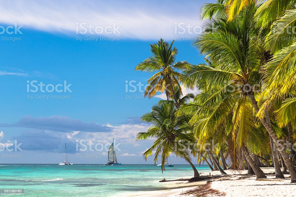 Landscape of paradise tropical island beach and catamarans stock photo