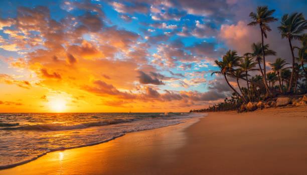 пейзаж райского тропического островного пляжа, восход солнца выстрел - sunset стоковые фото и изображения