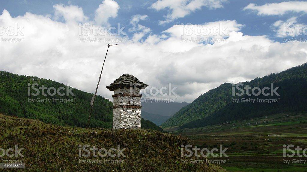Landscape of Phobjikha valley stock photo