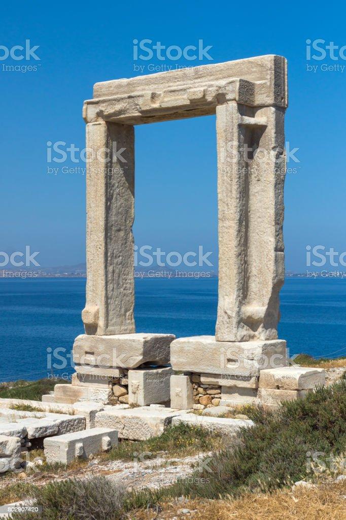 Landscape of Portara, Apollo Temple Entrance, Naxos Island, Greece stock photo