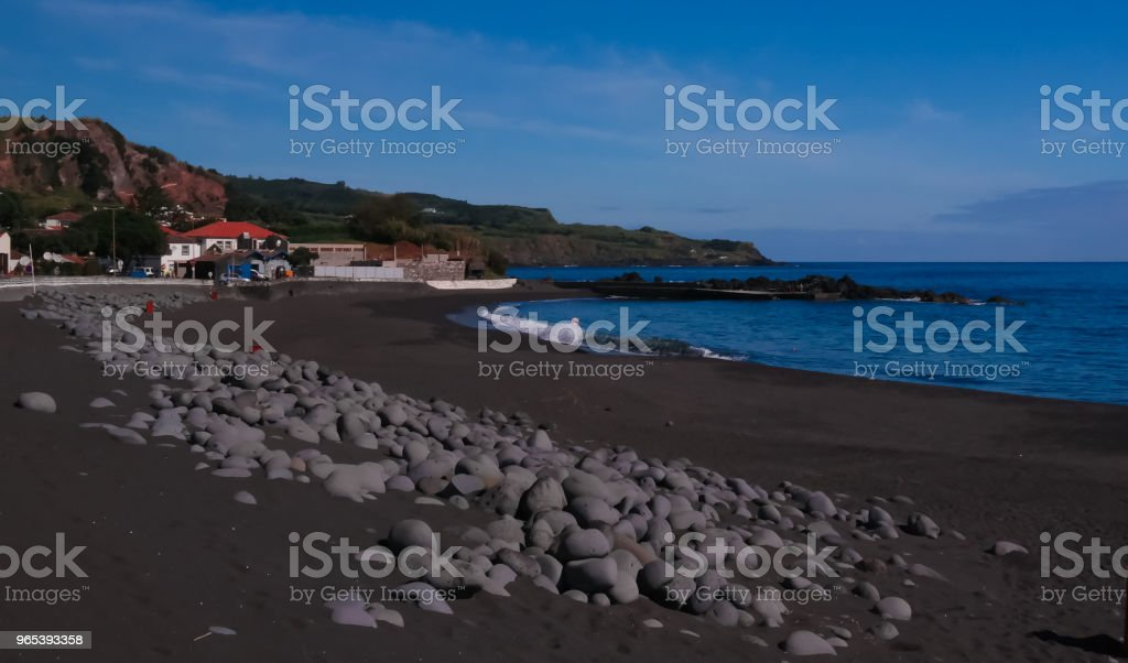Landscape of Praia do Almoxarife beach , Faial island, Azores, portugal royalty-free stock photo