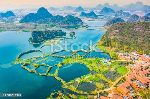 Landscape of Puzhehei. Known as Guilin of Yunnan, located in Puzhehei Scenic Resort, southeast of Kunming, Yunnan, China.