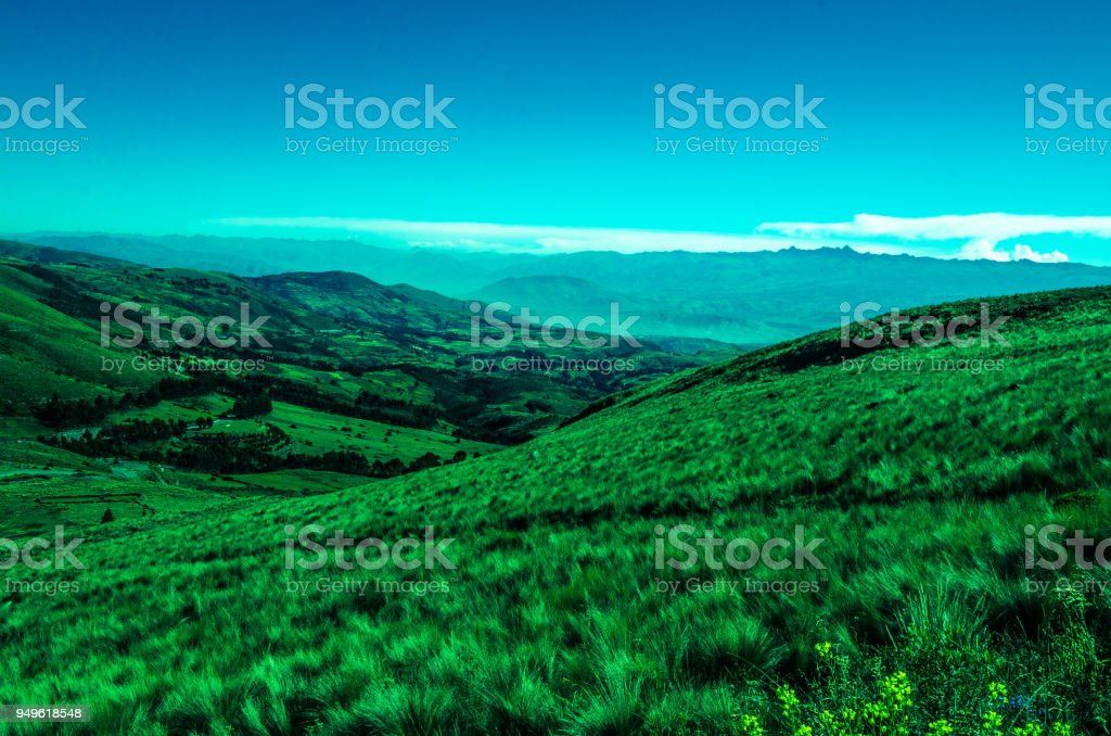 Landscape of Quinoa's Pampa in Ayacucho stock photo