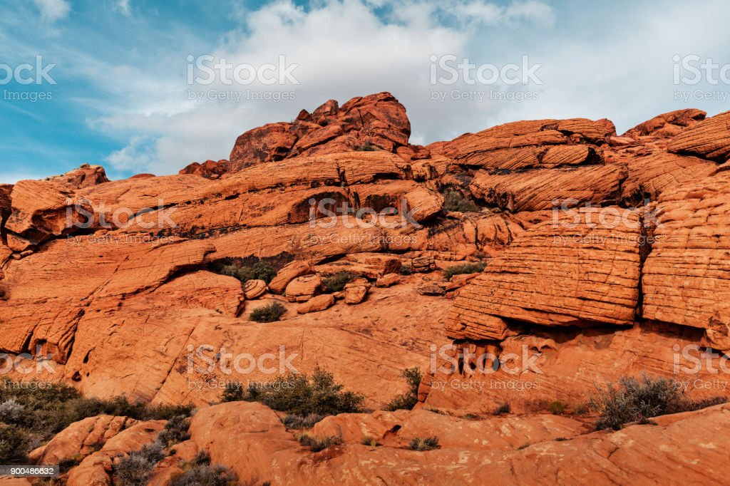 Landscape of Red Rocks at Red Rock Canyon, USA Landscape of Red Rocks at Red Rock Canyon, Southern Nevada, USA Accidents and Disasters Stock Photo