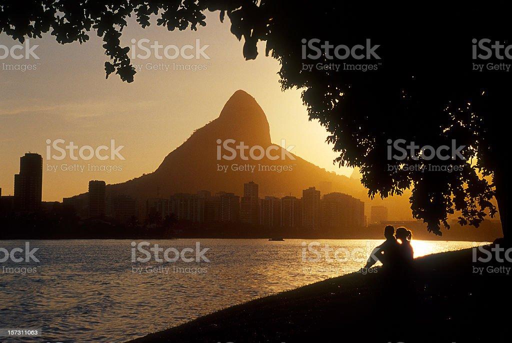 Landscape of Rio de Janeiro at sunset royalty-free stock photo