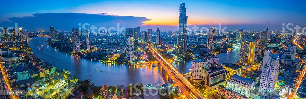 Landscape of river in Bangkok cityscape in night time stock photo