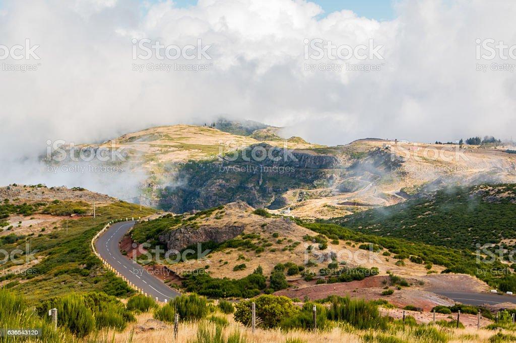 Landscape of road to Pico do Arieiro, Madeira island, Portugal stock photo