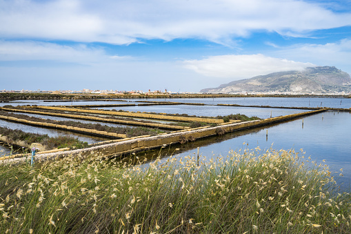 Landscape Of Saline Di Trapani E Paceco Nature Reserve With Mount Erice On The Background Sicily Italy Stock Photo - Download Image Now