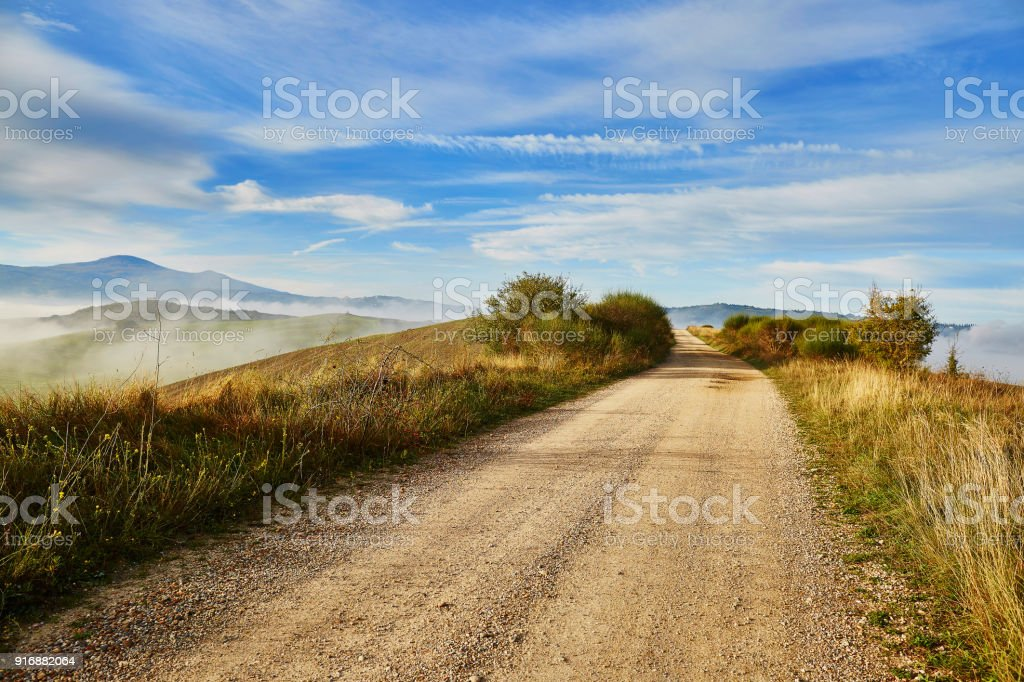 Landscape of San Quirico d'Orcia, Tuscany, Italy stock photo