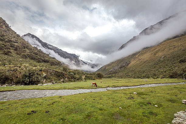 Landscape of Santa Cruz Trek, Cordillera Blanca, Peru South America stock photo