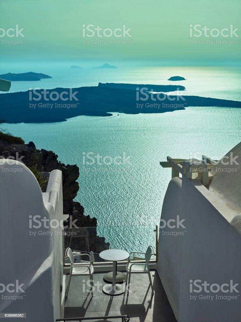 Landscape of Santorini Island, Fira, Cyclades, Greece stock photo
