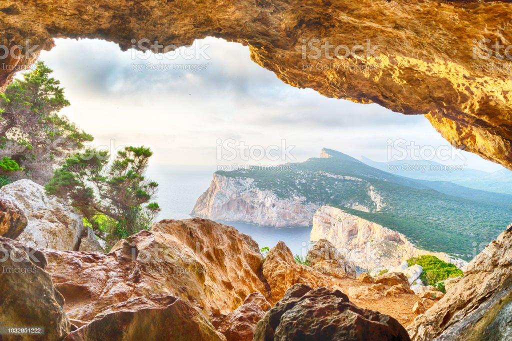 landscape of sardinian coast viewed from vasi rotti cave - foto stock
