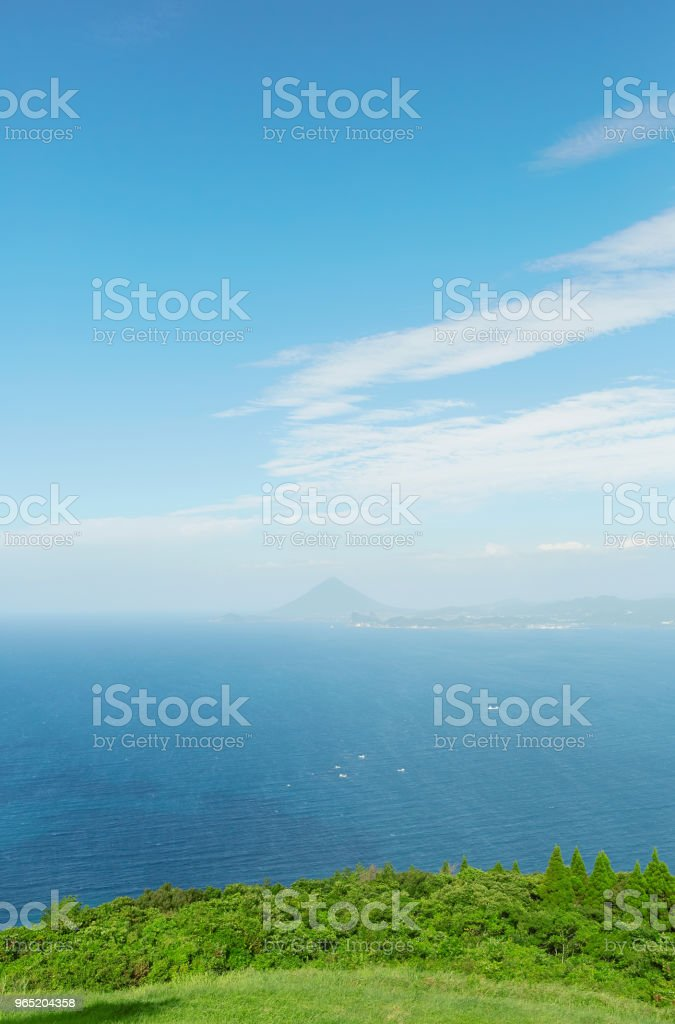 landscape of Satsuma peninsula with Mt. Kaimondake from Sata Cape in Japan zbiór zdjęć royalty-free