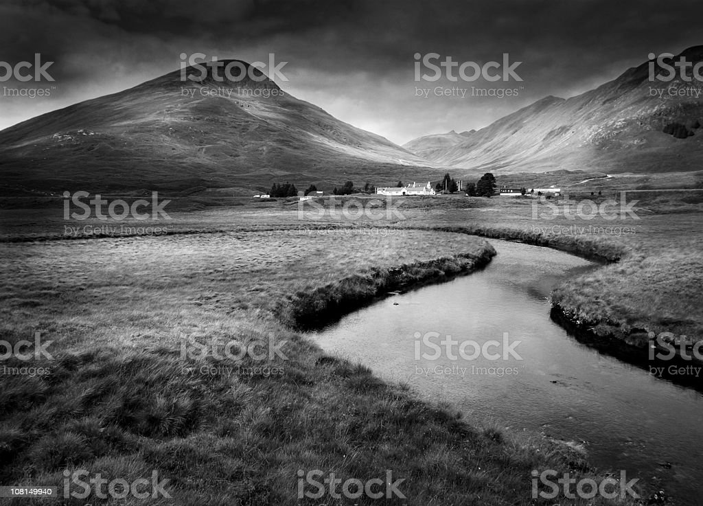 Landscape of Scottish Highlands, Black and White royalty-free stock photo