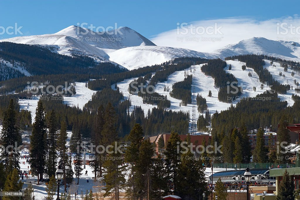 Landscape of ski slopes with snow stock photo