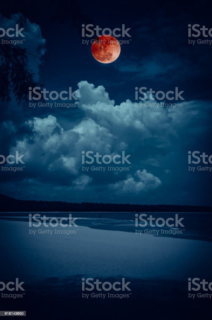 Landschap van de hemel met bloodmoon op zeegezicht tot 's avonds. Rust natuur achtergrond. foto