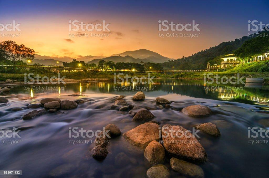 Landscape of small river and beautiful sunset  Keeree Wong Ban Khiri Wong village Nakhon Si Thammarat Thailand stock photo