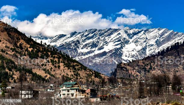 Photo of Landscape of snow covered mountains of Himalayas in Background, and in foreground, mountains with deciduous forests with beautiful Hamlet or Village in valley on bright sunny day with cloudy blue sky.