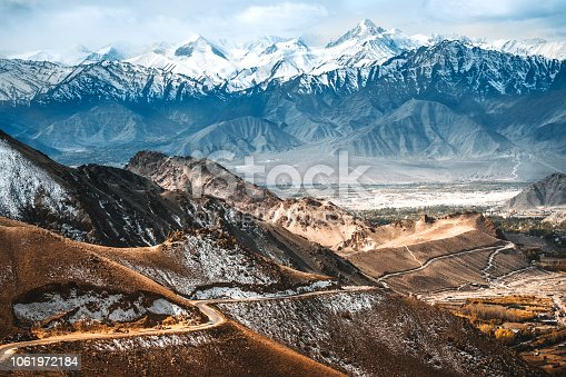 Landscape of Snow mountains and mountain road to Nubra valley in Leh, Ladakh India