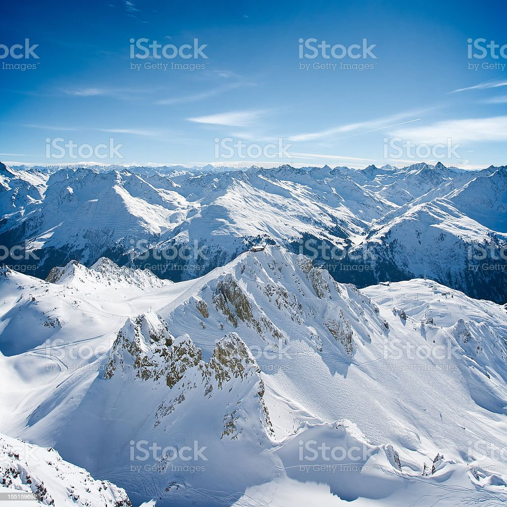 Landscape of St. Anton am Arlberg ski area peaks stock photo