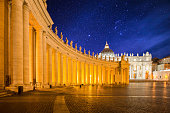 istock Landscape of St Peter's Basilica at Night 691697620