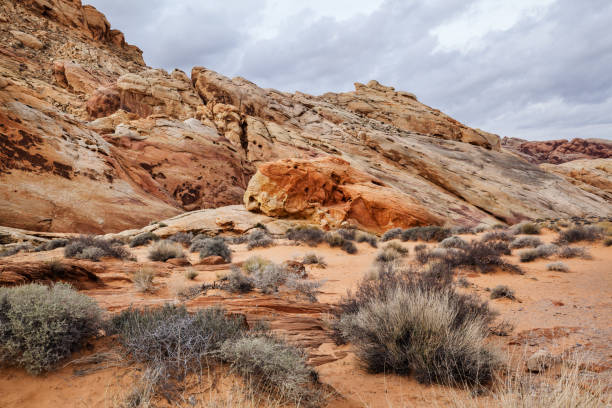 Landscape of stone desert and rock formations at Valley of Fire State Park in southern Nevada stock photo