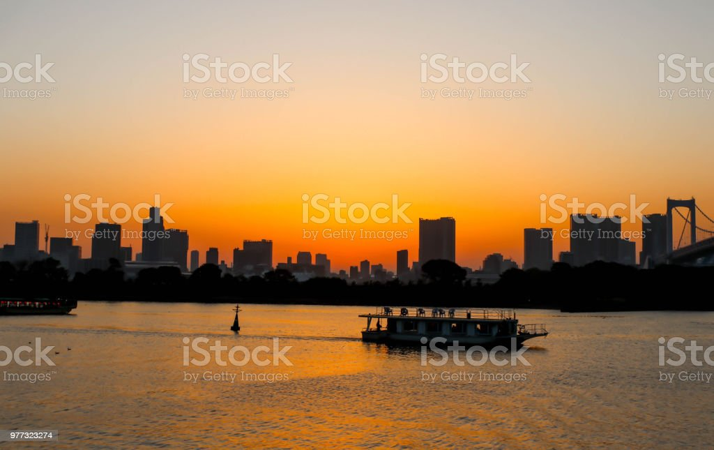 Landscape of sunset at sumida river sunset viewpoint ,tokyo stock photo