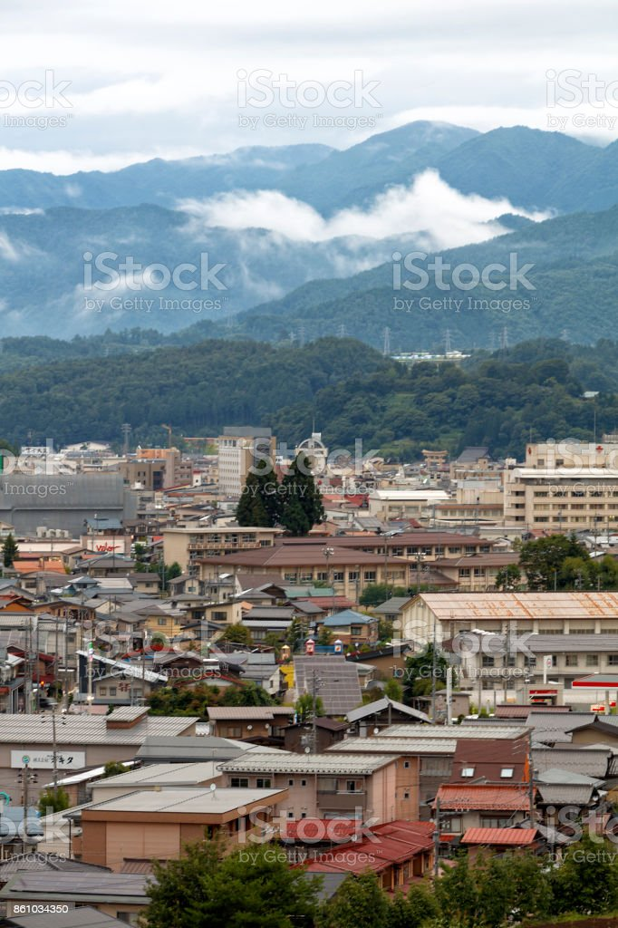 Landscape of Takayama City, Aerial View, Japan stock photo