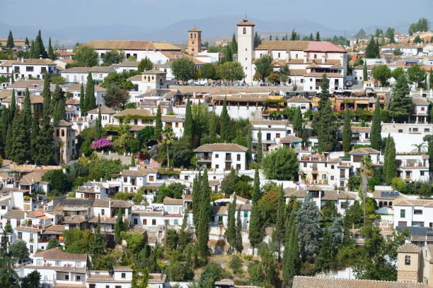 Landscape of the Albayzin neighborhood as seen from the Alhambra in Granada, Spain stock photo