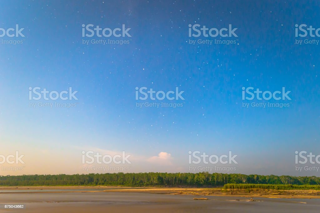 Manu National Park, Peru - August 08, 2017: Landscape of the Amazon rainforest of Manu National Park, Peru stock photo