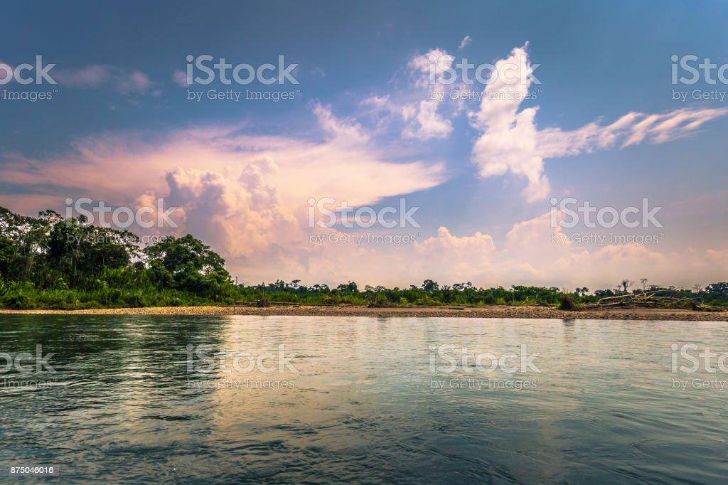 Manu National Park, Peru - August 09, 2017: Landscape of the Amazon rainforest of Manu National Park, Peru stock photo