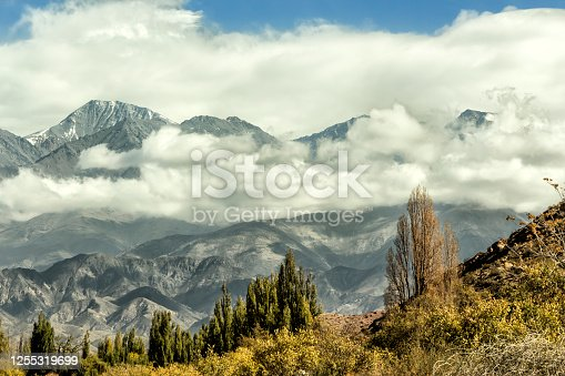 Beautiful landscape of the Andes mountain range. Potrerillos, Lujan de Cuyo, Mendoza, Argentina.