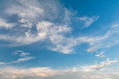 Landscape of the atmosphere. Blue sky with air clouds.