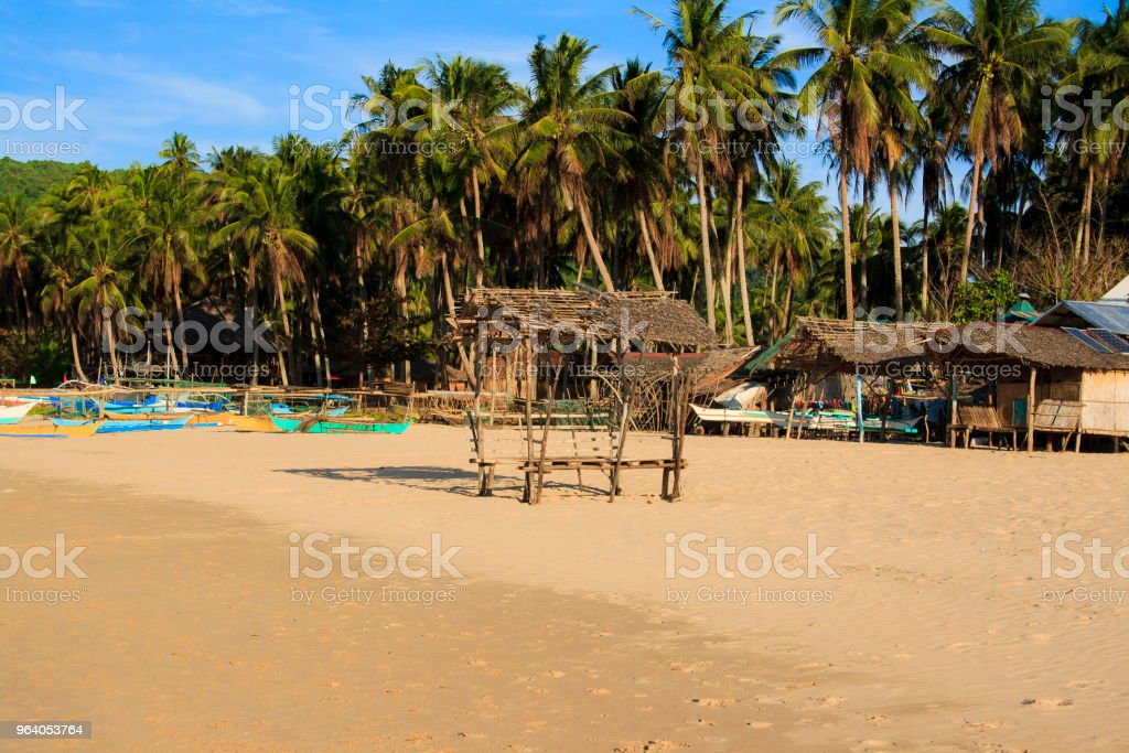 Landscape of the beach of Nacpan. The island of Palawan. Philippines. - Royalty-free Animal Nest Stock Photo