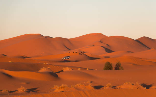 Landscape of the Erg Chebbi desert dunes in Merzouga, Morocco at sunrise with tour cars with tourists in the background stock photo