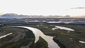 Landscape of the forest-tundra and the sandy river bank, photo from quadrocopter, bird's eye view.Arctic Circle, tunda