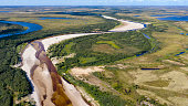 Landscape of the forest-tundra and the sandy river bank, quadrocopter bird's eye view.Arctic Circle, tunda
