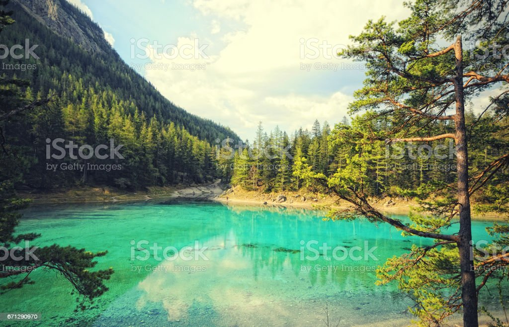 landscape of the Green Lake in Styria Tragoess. (Austria) stock photo
