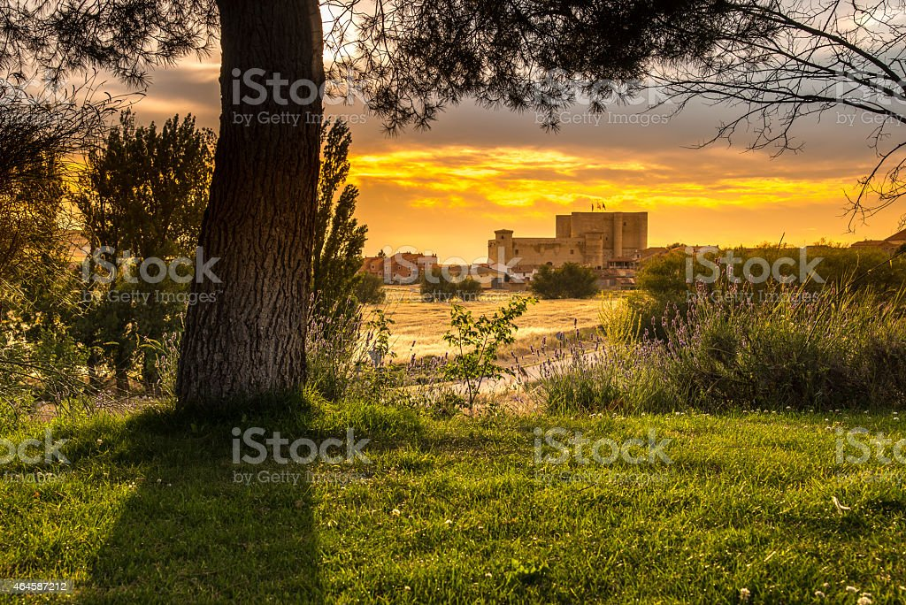 Landscape of the medieval castle of Fuentes De Valdepero stock photo